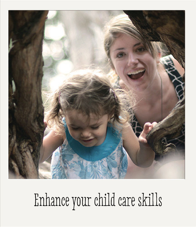 Photo of an au pair playing outside with a child